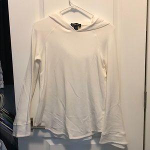 White hooded bell sleeve sweatshirt